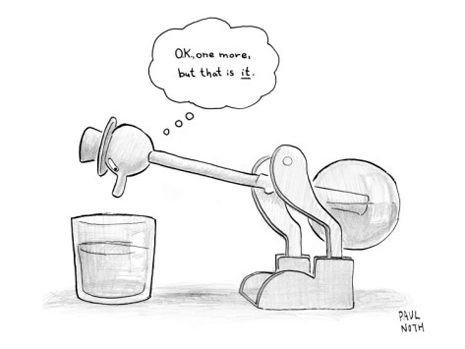 12092013-paul-noth-a-bobbing-duck-toy-is-dipping-its-beak-into-a-glass-of-water-new-yorker-cartoon