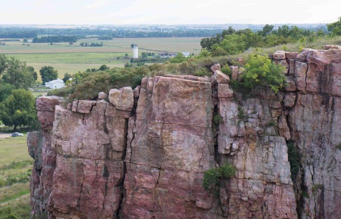 Sioux quartzite cliff 100 feet above an ancient quarry.